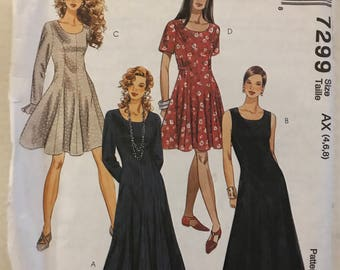 McCalls 7299 - Easy to Sew Fit and Flare Dress with Princess Seams and Scoop Neck in Knee or Tea Length - Size 4 6 8