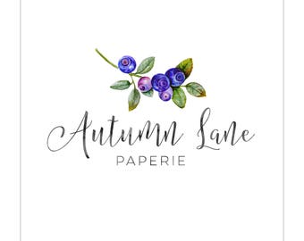 Premade Logo Design | Photography Logo | Modern Logo | Watermark | Branding Package | Watercolor Logo | Floral Logo | Blueberry Logo