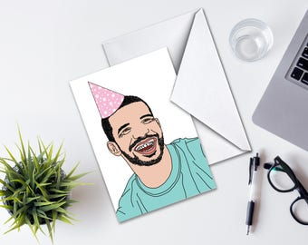Drake Birthday Card, Blank Drake Party Card, Birthday Card Drake Plain, Birthday Card, Greeting Card Birthday, Funny Card, Drake Drawing