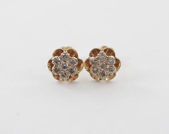 14k Yellow Gold Diamond Stud Earrings, 14k Gold Diamond Flower Earrings Push Back