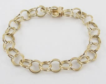 14k Yellow Gold Double Link Charm Bracelet 7 Inches 9 MM 10.2 grams
