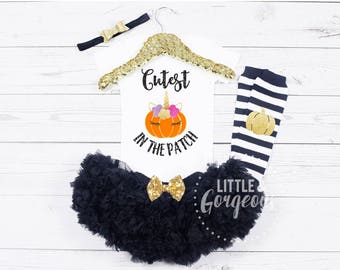 Girls Halloween Outfit, Baby Girl Halloween Outfit, Girls 1st Halloween, Unicorn Outfit, Cutest Pumpkin in the Patch, Girls Fall Outfit