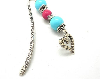 Bookmark silver jewelry, heart charm, turquoise and pink charms and co.