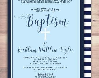 Baptism Invitation, Christening, Blue, Cross Christening Invitation, invitations, Nautical, Modern