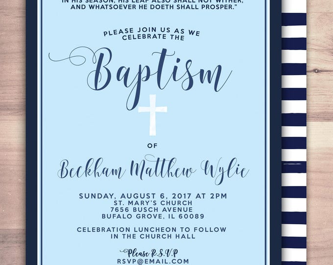 Baptism Invitation, Christening, Blue, Cross Christening Invitation, invitations, Nautical, Modern