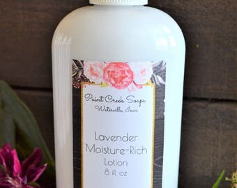 Lavender Moisturizing Lotion | 8 OZ | Lavender Essential Oil | Enriched with Cocoa Butter, Shea Butter, Aloe, Vitamin E | Handcrafted in IA
