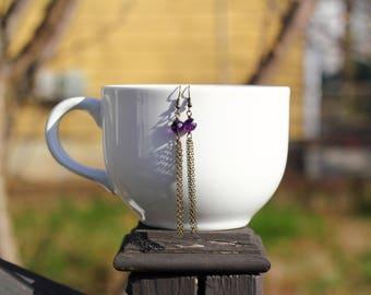 Faceted Amethyst Antique Brass Tassel Earrings | February Birthstone | Purple Gemstone Dangly Earrings