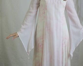 70s Pastel Pink Fairy Dress // Vintage Bell Sleeve High Neck Light Pink Maxi Dress // Size: S