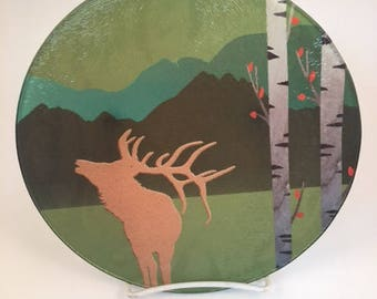 Rocky Mountain Elk Glass Cutting ,  Cheese Board , Pot Trivet, Aspen trees with Elk textured glass