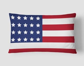 US Flag Lumbar Pillow, American Flag Cushion, Stars Stripes Cushion, 14x20 Cushion Cover, Patriotic Cushion, Flag Decor, Red Blue White