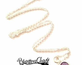 Amethyst Birthstone Necklace - February Birthstone Necklace - Swarovski Crystal Necklace - Purple Crystal Necklace - Birthday Necklace