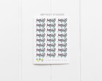 Birthday Stickers - 24 Hand-Lettered Planner Stickers