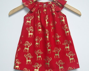 Christmas Dress - Baby and Girls red and Gold reindeer Christmas dress in sizes 000, 00, 0, 1, 2, 3