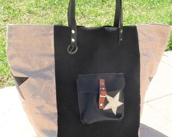 lin lamé designer patchwork tote bag metallic gold/black/Pocket leather, camel leather handles