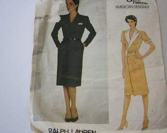 Dress, Double Breasted /coat dress by Ralph Lauren - 1970's - Vogue Designer Original Pattern 2839 UNCUT, Size 10, Bust 83cm