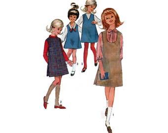 60's Girl's Jumper Sewing Pattern, Size 10 Bust 28 Uncut Vintage 1960's UNCUT Simplicity 6068