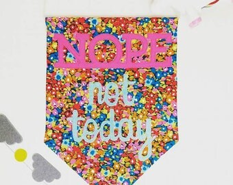 NOPE not today - hanging fabric pennant