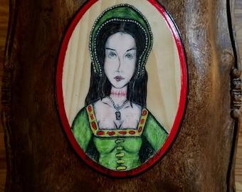 ANNE BOLEYN - Queen of England - 5 x 7 Oval Wood Plaque - Original Art