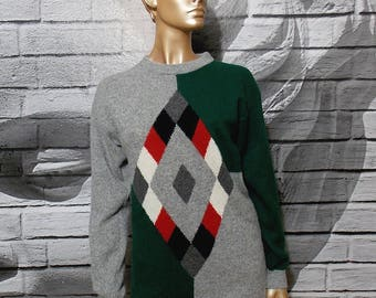 Vintage argyle sweater, gray and green soft warm jumper, lamb wool angora sweater, color block cozy sweater