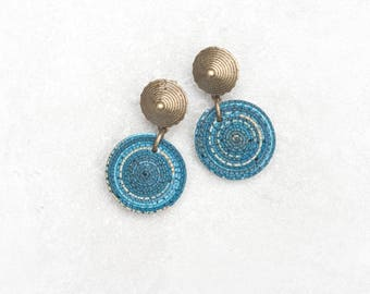 Circle tribal earrings Bright boho earrings Unique boho earrings Stud earrings