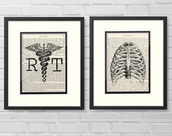 Xray Tech Gift - Set of 2 - RT, Chest over Vintage Medical Book Pages - Xray, Xray Tech, Xray Tech Graduation, Rad Tech, Chest Xray, RT Grad
