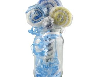 Baby Shower Decorations Boy - Lollipop Bouquet -  Decorations for Boy Baby Shower - Washcloth Lollipops  - Baby Shower Decorations