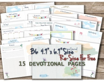 B6 printable inserts travelers notebook bible prayer journal daily monthly notes calendar  _ Any Re-size is FREE
