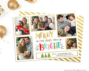 Merry and Bright Colorful Christmas Card - Christmas Picture Card - 5 photo holiday card, 5 picture christmas card, 2 sided holiday cards