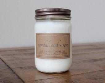 Sandalwood + Rose Soy Mason Jar Candle - 12 ounce