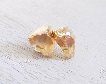 Citrine Earrings, Citrine Stud Earrings, Gold Stud Earrings, Gemstone Stud Earrings, Raw Stone Post Earrings, Chunky Studs, Gift, G5-739