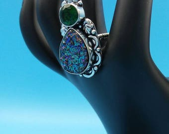 Titanium Druzy with Peridot Sterling Silver Ring, size 8.