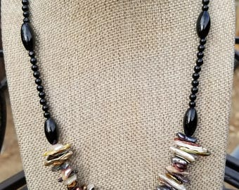 Black Onyx, Agate and Freshwater Pearl Necklace, Gemstone Necklace, Onyx, Pearl, Shell, Sterling Silver, Natural Necklace, Gemstone