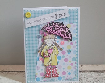 Showering you with love - Birthday card - thinking of you - just because