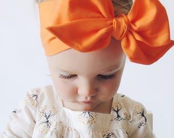 CLEMENTINE Gorgeous Wrap- headwrap; fabric head wrap; orange head wrap; boho; newborn headband; baby headband; toddler headband