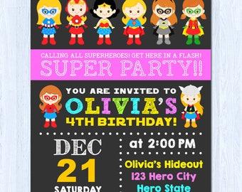 Superhero Girl Invitation, Girl Superhero Invitation, Superhero Invitation Girl, SUPERHERO Girl Birthday Invitation, DC Superhero Girls