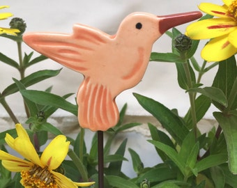 Orange Hummingbird Garden Stake