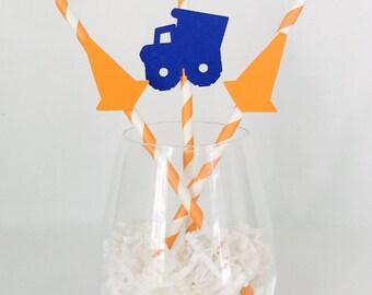 12 Construction Party Straws - Trucks - Cones - Boy Birthday - Birthday Party - Dump Truck - Blue and Orange - Work Zone