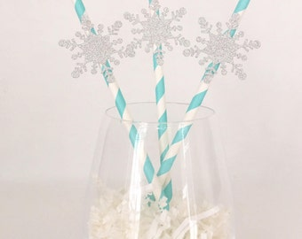12 Snowflake Party Straws - Winter ONEderland - First Birthday - Snow Party - Christmas Party - Christmas in July - Frozen