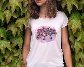 Floral Bear T-Shirt, Purple Bear Tshirt, Bear Lover Gift, Mama Bear Gift, Flower Bear Clothing, Pink Bear Shirt, Bear Tee, Bear Top Gift