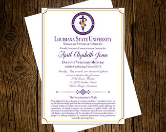 Louisiana State University DVM Graduation Announcements Set of 12 Personalized Custom Printed Class of 2018