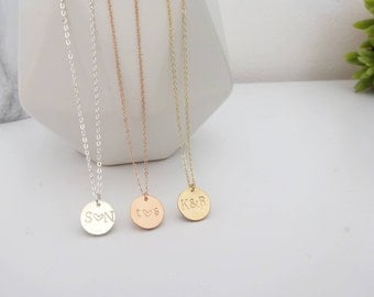 Personalized Disk Necklace, Initial Necklace, Custom Bridesmaids Gift, Circle Gold,Sterling Silver, Rose Gold fill, Christmas gift idea