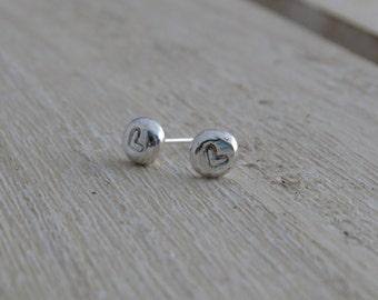 Silver stud earrings Stud earrings with heart Heart stud earrings Silver heart earrings Heart earrings Heart jewellery Heart jewelry