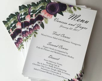 Wedding Floral Menu- Wedding Menu- Menu Cards - Wedding Menu Cards