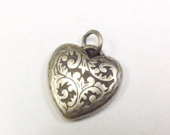 Antique, Victorian, puffy heart, fob, charm, pendant in white metal.
