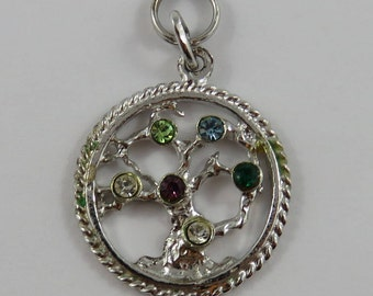 Tree of Life With Colorful Stones Sterling Silver Vintage Charm For Bracelet