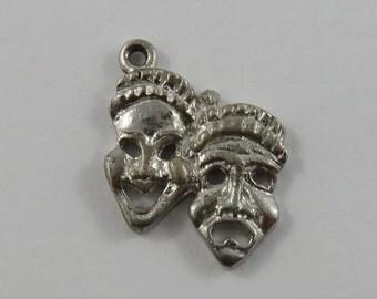 Comedy & Tragedy Masks Sterling Silver Vintage Charm For Bracelet