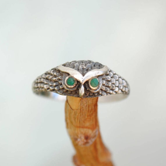 Owl silver ring and malachite, owl ring, malachite ring, owl rings, vintage owl ring, vintage ring, malachite vintage ring, malachite