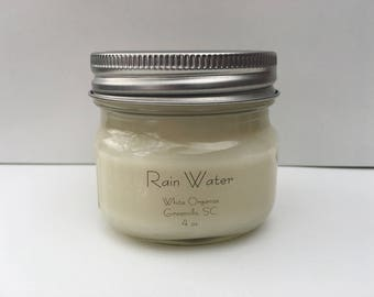 Rain Water, 100% All Natural Soybean Candle, 4 oz., Eco Friendly, Clean Burning, No Color or Dyes, MADE IN USA