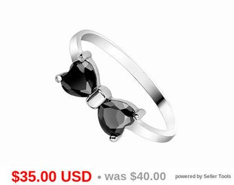 Bow Ring Bow Tie Ring Black Engagement Ring Black Promise Ring for Her Black Wedding Ring Bow Engagement Ring Small Engagement Ring CZ Ring