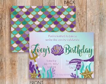 Teal & Purple Digital Mermaid Invitation | Mermaid Party| Mermaid Birthday Invitation | Under the Sea Party